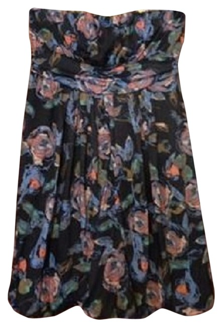 American Rag short dress Blue Black Grey Pink Floral Strapless Bubble 2x 18/20 1x on Tradesy