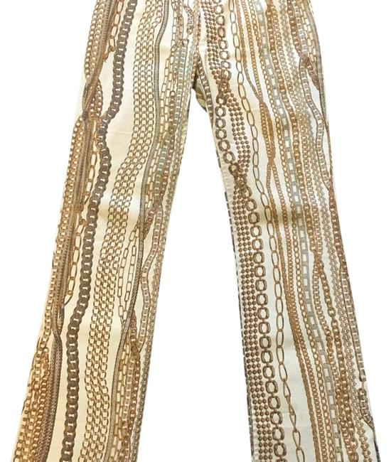 Item - White and Gold Straight Leg Jeans Size 30 (6, M)