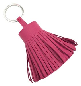 Hermès HERMES Carmen Leather Pom Pom Key Ring Bag Charm Rose Shocking Pink