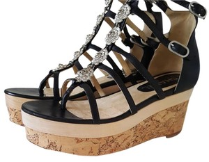 Chanel Wedges Camilia Strappy Leather Black & Silver Platforms
