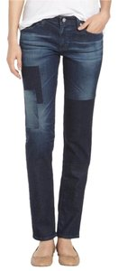 AG Adriano Goldschmied Denim Patchwork Dark Denim Straight Leg Jeans-Dark Rinse