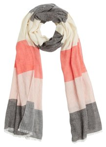 Tory Burch Tory Burch Multi Stripe Logo Jacquard Scarf Coral Pink Gray White Cotton