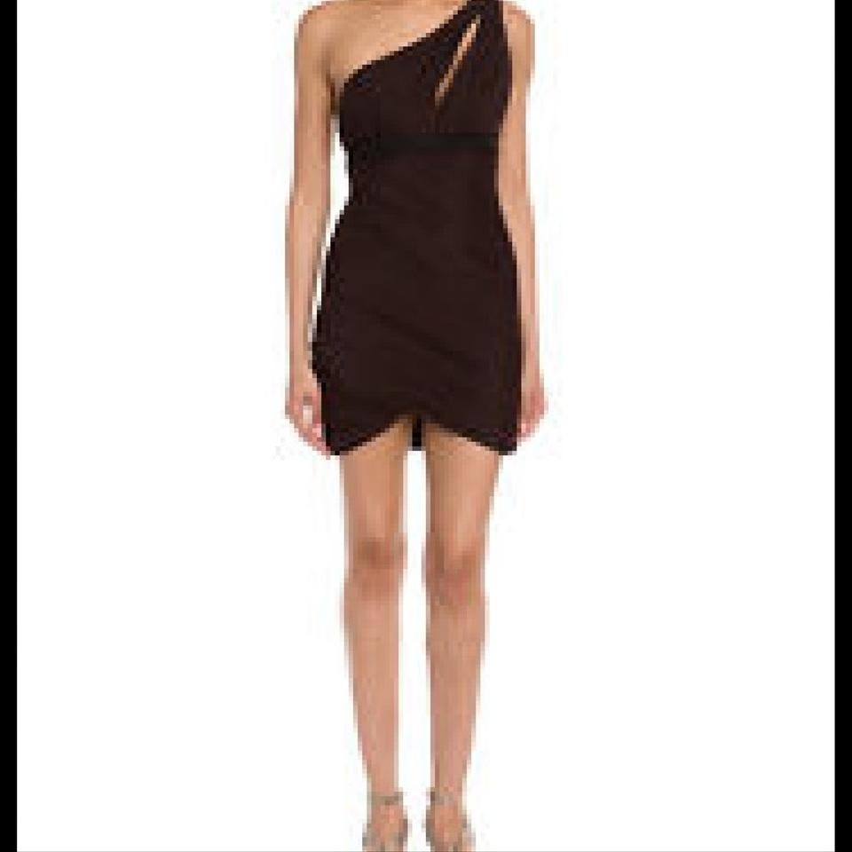 BCBGMAXAZRIA Chocolate Ruched One Shoulder Above Knee Cocktail Dress ...