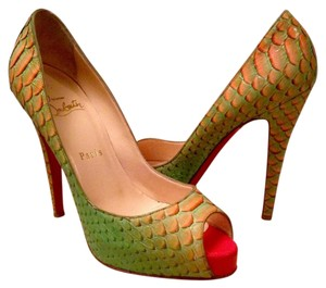Christian Louboutin Green Orange Platforms