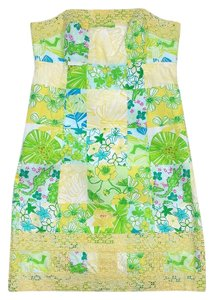 Lilly Pulitzer short dress Green & Yellow Patchwork Cotton Strapless on Tradesy