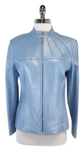 St. John Baby Blue Leather Leather Jacket