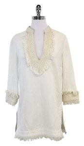 Tory Burch Cream Linen Fringe Tunic