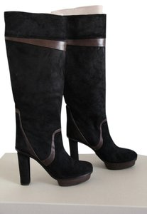 Hugo Boss Knee High Leather Chunky Platform Tall Tall Platform Black Boots