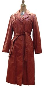 70s vintage Leather Trench Coat Vtg Leather Coat Vtg Coat burnt orange Leather Jacket