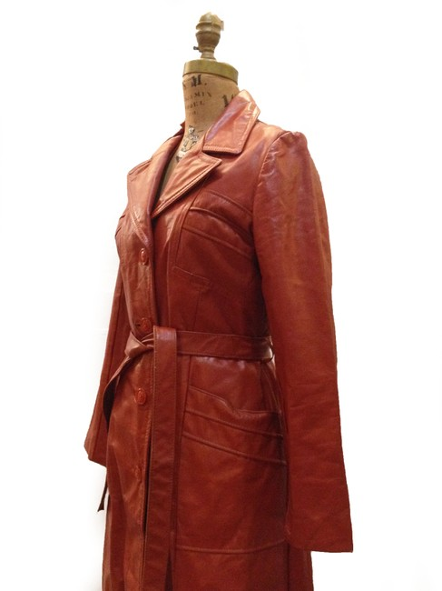 70s vintage Trench Coat Vtg Coat Vtg Coat burnt orange Leather Jacket