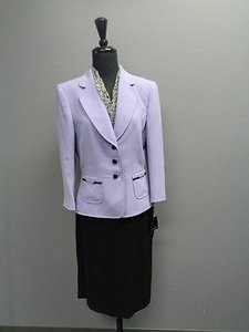 Tahari Tahari Arthur S. Levine Lined Purple Black Skirt Suit Polyester Sm2707
