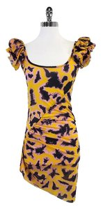 Just Cavalli short dress Yellow Print Black on Tradesy
