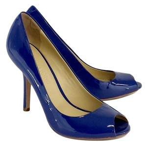 Vera Wang Blue Patent Leather Peep Toe Pumps
