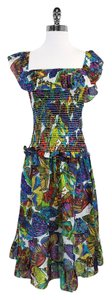 Nanette Lepore Multi Color Butterfly Print Dress