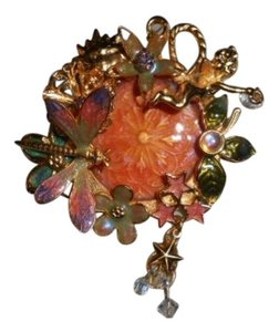 Kirks Folly Kirk's Kirks Folly Fairy Wishing Pool Pin Brooch Jewelry Orange