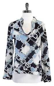 Tory Burch Blue & White Chain Print Long Cotton Top