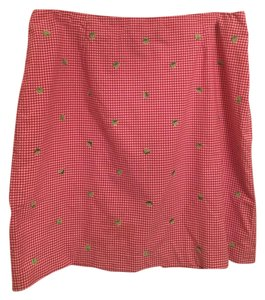 Talbots Mini Skirt Hot Pink and White Gingham Check With Lime Embroidery