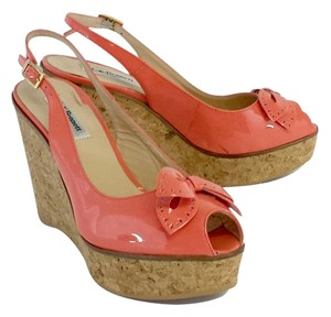 L.K. Bennett Coral Patent Leather Wedges