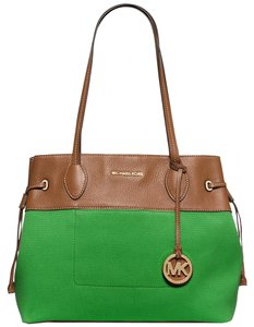 Michael Kors New Leather Canvas Green Tote in Palm