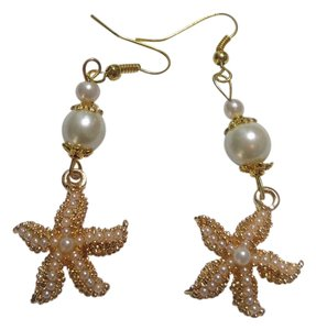Other New Starfish Charm Earrings Gold Tone Long White Glass Pearl J2524