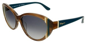 Salvatore Ferragamo Salvatore Ferragamo Striped Brown Cateye Sunglasses