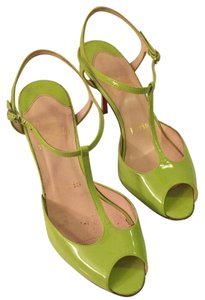 Christian Louboutin Green T-strap Open Toe Unique Color Lime Green Sandals