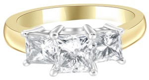 Avi and Co 2.35 cttw Princess Cut Diamond Three Stone Anniversary Ring 14K Two Tone Gold