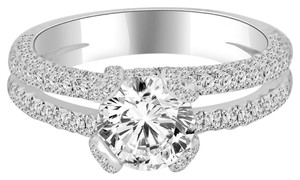 Avi and Co 3.66 cttw Round Brilliant Diamond Pave Split Shank Platinum Engagement Ring