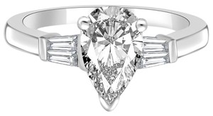 Avi and Co 2.01 cttw Pear Shape Diamond in Baguette Accented Platinum Engagement Ring