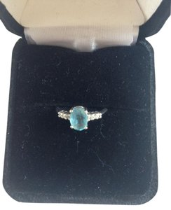 Kay Jewelers 10K White Gold Blue Topaz and Diamond Ring