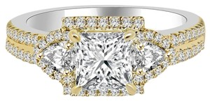 Avi and Co 2.39 cttw Princess Cut Diamond Halo Engagement Ring 18K Two Tone Gold