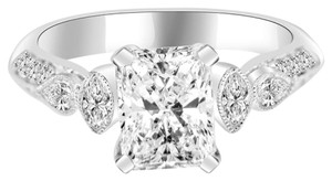 Avi and Co 1.67 cttw GIA Radiant Cut Engagement Ring Antique Style 18K White Gold Mounting