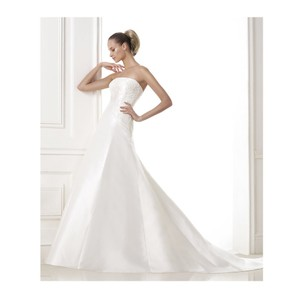Pronovias Off White Satin Bongani Destination Wedding Dress Size 14 (L)