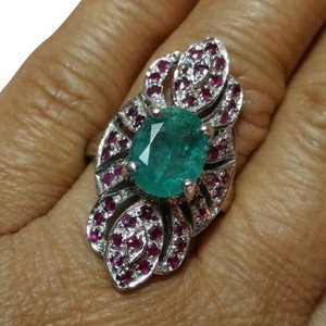 SALE*2.74CT NATURAL EMERALD RUBY 14K WHITE GOLD PLATED STERLING SILVER RING