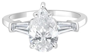Avi and Co 2.43 cttw Pear Shape Diamond Engagement Ring with Baguettes 18K White Gold
