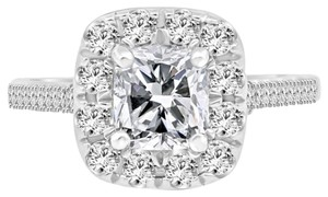 Avi and Co 2.71 cttw GIA Cushion Cut Diamond Engagement Ring 18K White Gold Halo Mounting