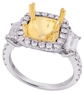 Avi and Co 1.40 cttw Round & Trapezoid Cut Diamond Engagement Mounting 18K Two Tone Gold