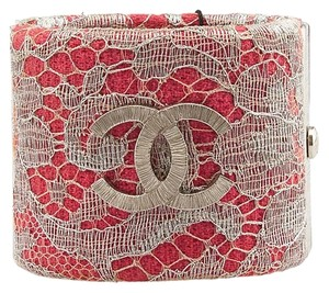 Chanel Red and Silver Lace CC Logo Cuff
