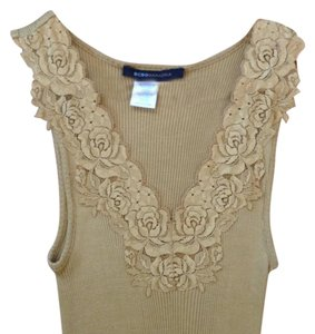 BCBGMAXAZRIA Lace Ribbed Top Mustard, Gold