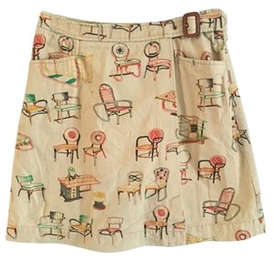 Anthropologie 9h15 Scl Pockets Mini Skirt khaki with print