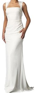 Nicole Miller Bridal Antique White Silk Taryn Cutout Lace Back Crepe Gown Di0014 Feminine Wedding Dress Size 2 (XS)