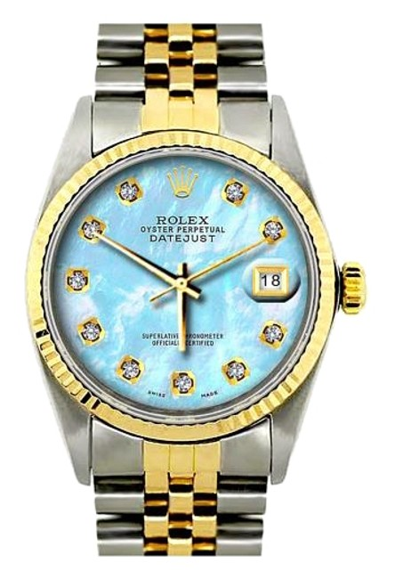 Rolex Blue Mop Dial 36mm Datejust Gold S/S Diamond with Appraisal Watch Rolex Blue Mop Dial 36mm Datejust Gold S/S Diamond with Appraisal Watch Image 1