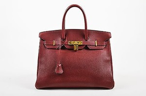 Hermès Dark Rouge Clemence Leather Flap Birkin Cm Tote in Red