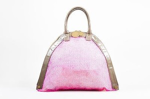Stella McCartney Faux Patent Leather Pink Fishnet Rounded Tote in Taupe
