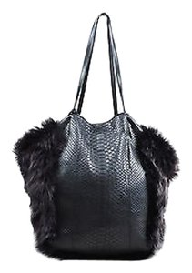 Carlos Falchi Python Leather Fur Hobo Bell Tote in Black