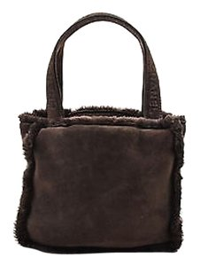 Chanel Shearling Suede Square Embossed Handbag Tote in Brown