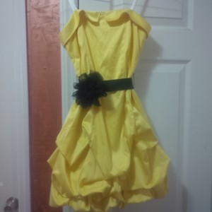 City Triangles Trendy Bubble Strapless Sash Flower Pretty Party Dress