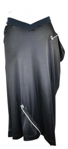 Dior Asymmetric Zipper Silk Christian Skirt Black