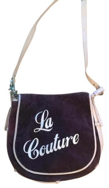 Item - Purple Velour and Leather Messenger Bag