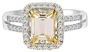Avi and Co 2.00 cttw Fancy Yellow Emerald Cut Diamond Engagement Ring 18k White Gold